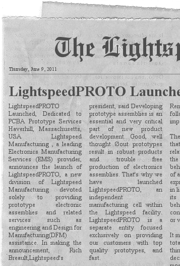 Lightspeed Proto Press Release June 2011